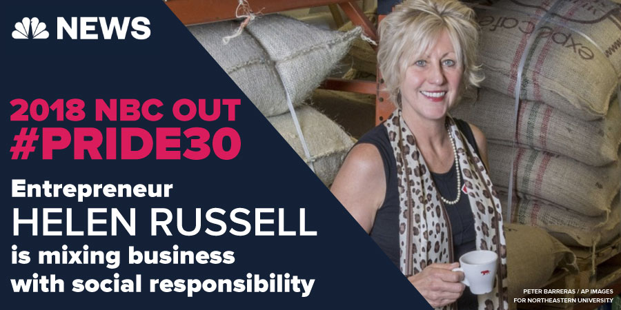 NBC News selects Helen Russell, CEO of Equator Coffees & Teas, as 'Top 30' LGBTQ people making a difference in the world!